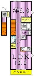 アルモニーAB棟[B203号室]の間取り