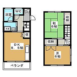 第1天台荘 1階2DKの間取り