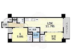 Osaka Metro谷町線 平野駅 徒歩6分の賃貸マンション 2階1SLDKの間取り