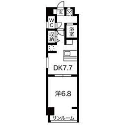 愛知県名古屋市天白区植田2丁目の賃貸マンションの間取り