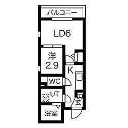 名古屋市営東山線 中村日赤駅 徒歩5分の賃貸マンション 5階1LDKの間取り