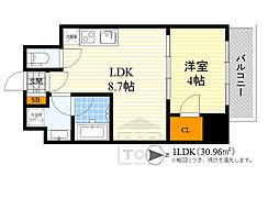 Osaka Metro御堂筋線 江坂駅 徒歩7分の賃貸マンション 4階1LDKの間取り