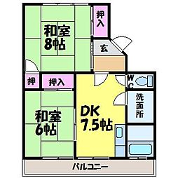 愛媛県松山市和泉南6丁目の賃貸アパートの間取り