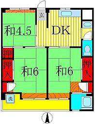 ビレッジハウス栗ヶ沢1号棟[2階]の間取り