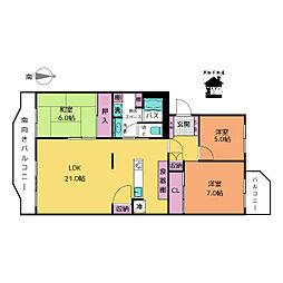 タウン千代田橋5号棟[4階]の間取り