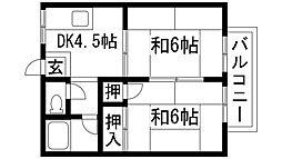 大阪府箕面市如意谷1丁目の賃貸アパートの間取り