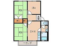 グリーンフル藤井[2階]の間取り