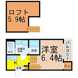 (仮称)熱田区三番町(2)新築アパート 2階1Kの間取り