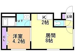 Steady State Asabu 1階1LDKの間取り
