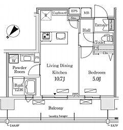 新交通ゆりかもめ 新豊洲駅 徒歩22分の賃貸マンション 6階1LDKの間取り