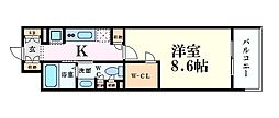 Osaka Metro四つ橋線 四ツ橋駅 徒歩5分の賃貸マンション 4階1Kの間取り