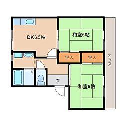 近鉄天理線 天理駅 バス6分 勾田下車 徒歩2分の賃貸アパート 1階2DKの間取り