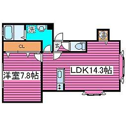 北海道札幌市東区北四十一条東15丁目の賃貸アパートの間取り