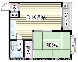 大阪府枚方市星丘2丁目の賃貸マンションの間取り