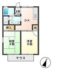 東京都日野市多摩平3丁目の賃貸アパートの間取り