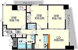 淀川ウエストタワー 5階3LDKの間取り