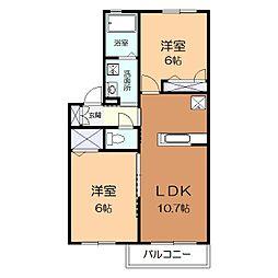 神奈川県平塚市中原2丁目の賃貸アパートの間取り