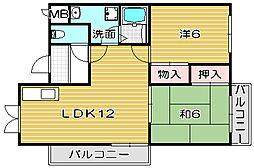 大阪府高槻市氷室町1丁目の賃貸マンションの間取り