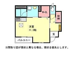 愛知県一宮市浅野字青石の賃貸アパートの間取り