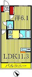 ヒルズルナ[3階]の間取り