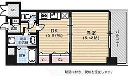 広島電鉄5系統 比治山下駅 徒歩5分の賃貸マンション 7階1DKの間取り