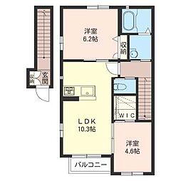 ハウス未来 B[2階]の間取り