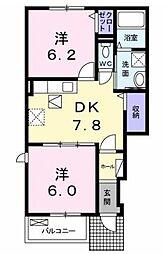 JR福塩線 神辺駅 徒歩8分の賃貸アパート 1階2DKの間取り