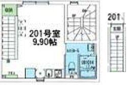 東急東横線 学芸大学駅 徒歩12分の賃貸マンション 2階ワンルームの間取り