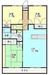 コーナス・ガーデンA棟[3階]の間取り