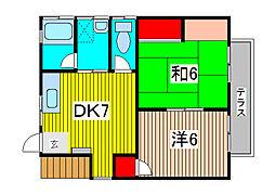 Kハイツ[1F号室]の間取り