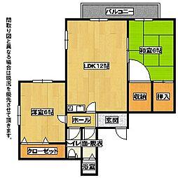 福岡県北九州市八幡西区日吉台1丁目の賃貸アパートの間取り