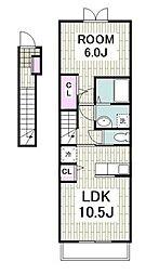 京急本線 上大岡駅 バス15分 公務員住宅入口下車 徒歩1分の賃貸アパート 2階1LDKの間取り