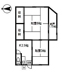 神奈川県横浜市南区睦町1丁目の賃貸アパートの間取り