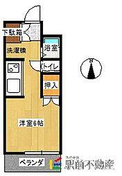 メゾンRYU 2階ワンルームの間取り