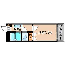 近鉄南大阪線 高田市駅 徒歩4分の賃貸マンション 4階1Kの間取り