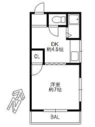 愛知県名古屋市名東区若葉台の賃貸アパートの間取り