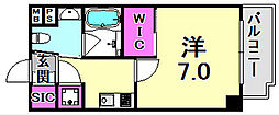Ulysses新神戸 9階1Kの間取り