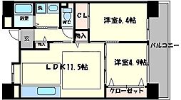 OPH北千里駅前2号棟[4階]の間取り