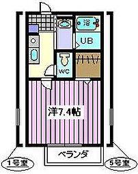 埼玉県さいたま市南区関1丁目の賃貸アパートの間取り