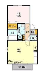 埼玉県所沢市東所沢4丁目の賃貸アパートの間取り