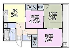 三重県松阪市清生町の賃貸アパートの間取り