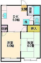 埼玉県富士見市上沢3丁目の賃貸アパートの間取り