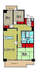 埼玉県さいたま市浦和区岸町6丁目の賃貸マンションの間取り