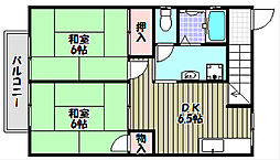 大阪府富田林市藤沢台5の賃貸アパートの間取り