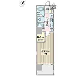 ボナール プランドール 14階1Kの間取り