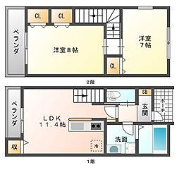 [タウンハウス] 福岡県福岡市城南区長尾5丁目 の賃貸【/】の間取り
