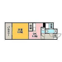 KUNPURIRU 4階1DKの間取り