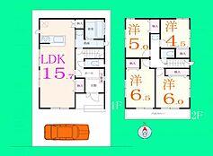 2区画の建物参考プラン。価格、1210万円。