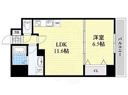 (仮称)リバレイン江坂 2階1LDKの間取り