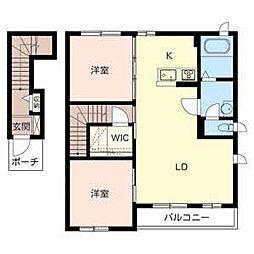 和歌山県和歌山市新中島の賃貸アパートの間取り